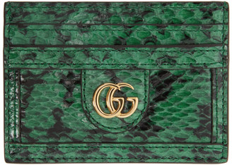 Gucci Green and Black GG Ophidia Viper Card Holder