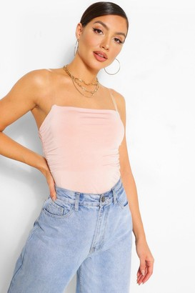 boohoo Slinky Invisible Strap Ruched Bodysuit