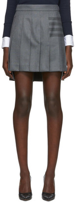 Thom Browne Grey Pleated 4-Bar Miniskirt