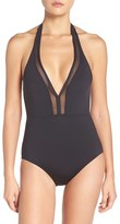 Tommy Bahama Women's Mesh Solids Plunge Halter One-Piece Swimsuit