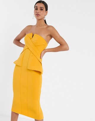 ASOS DESIGN stitch detail bandeau pencil midi dress with side pep in mustard