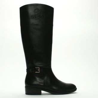 Lauren Ralph Lauren Madisen Black Leather Logo Riding Boots
