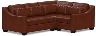 Pottery Barn York Deep Seat Slope Arm Leather 3-Piece Corner Sectional with Bench Cushion