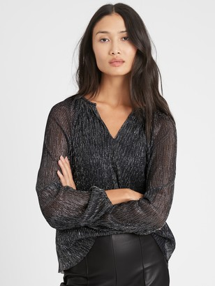 Banana Republic Petite Metallic Balloon-Sleeve Top