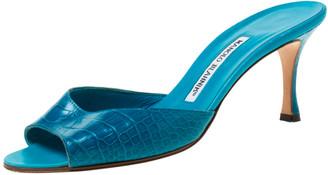 Manolo Blahnik Blue Alligator Leather Open Toe Sandals Size 38.5