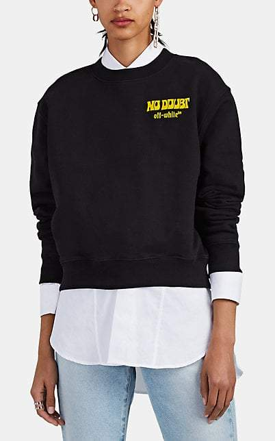 Off-White Women's Logo-Flocked Cotton Crop Sweatshirt - Black
