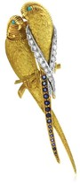 Van Cleef & Arpels Multi-gems 18K Yellow Gold Parrots Pin