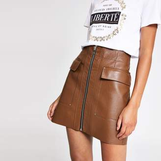 River Island Womens Brown faux leather zip front mini skirt