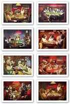 "Camilla And Marc Haddad's Poker Dogs Set (Eight Prints) by C.M. Coolidge 13.75""x9.5"" Art Print Poster"