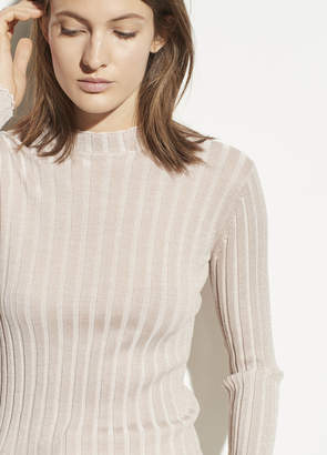 Ribbed Wool Mock Neck Pullover