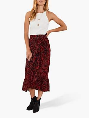 Mint Velvet Naomi Zebra Print Midi Skirt, Red/Multi