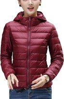CHERRY CHICK Women's Packable Down Jacket with Hood Orange