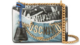 Moschino denim and leather print shoulder bag
