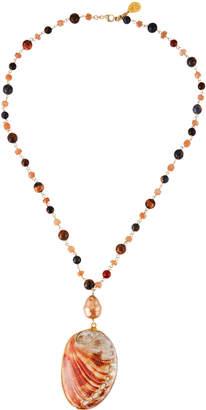 Devon Leigh Sodalite-Strand Shell Pendant Necklace