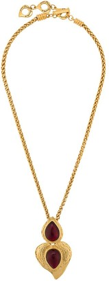 Yves Saint Laurent Pre Owned Tear Drop And Heart Pendant Long Necklace