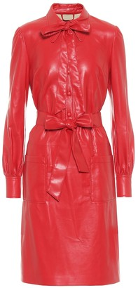 Marc Jacobs The Leatherette faux leather shirt minidress