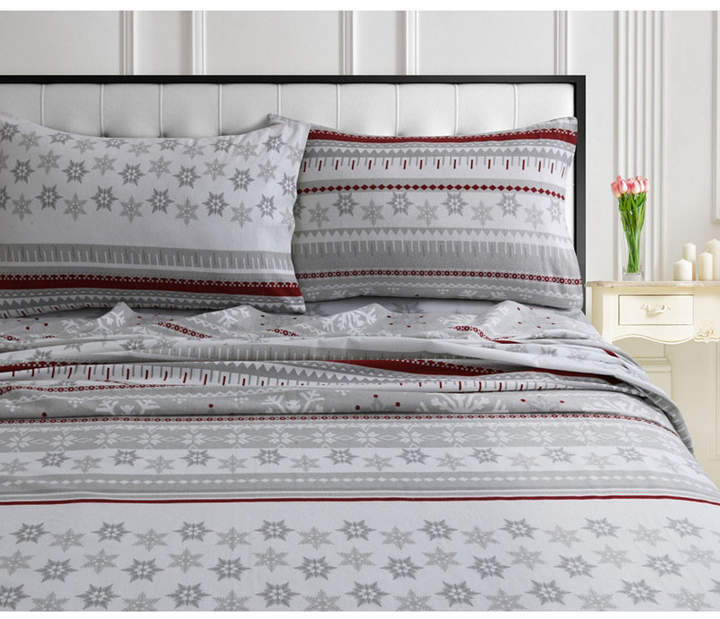 Tribeca Living Snowmitten 170-gsm Cotton Flannel Printed Extra Deep Pocket Queen Sheet Set Bedding