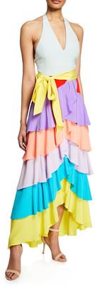 Alice + Olivia Elmira Halter-Neck Ruffle Tiered Gown