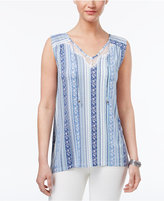 Style&Co. Style & Co Lace-Trim Tie-Neck Top, Only at Macy's