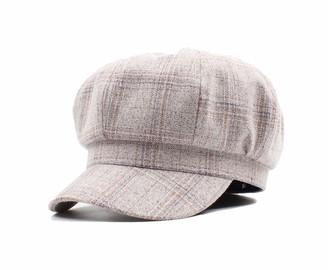 Fancyland Women Flat Cap Tweed 8 Panel Newsboy Baker Boy Hat Gatsby Peaky Blinder Cream