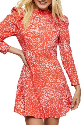 Topshop Long Sleeve Print Minidress