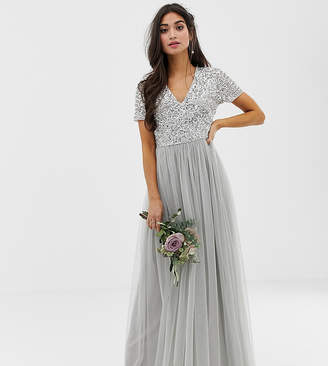 Maya Petite Bridesmaid v neck maxi tulle dress with tonal delicate sequins in silver-Grey