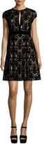 Nanette Lepore Cap-Sleeve Lace Keyhole Cocktail Dress, Black