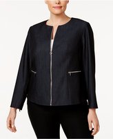 Calvin Klein Plus Size Zip-Up Denim Blazer