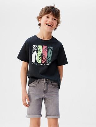 MANGO Boys Straight Denim Shorts - Grey