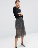 Vero Moda Midi Skirt with Mesh Layer