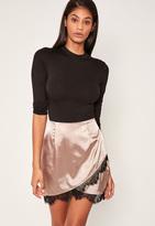Missguided Nude Asymmetric Satin Lace Trim Mini Skirt