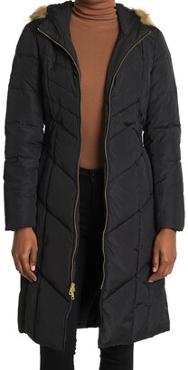 Cole Haan Puffer Down Faux Fur Trim Hooded Long Coat