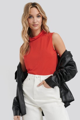 NA-KD Turtle Neck Sleeveless Ribbed Jersey Top