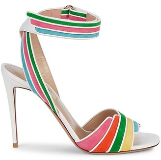 Valentino Rainbow Suede Leather Stiletto Ankle-Strap Sandals