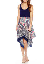 Tiana B Sleeveless Print Handkerchief-Hem Dress