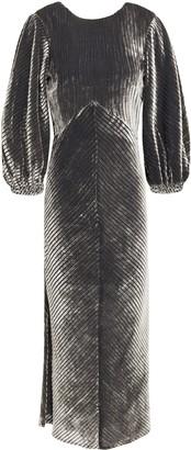 Dagmar House Of Striped Devore-velvet Midi Dress