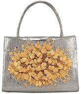 Nancy Gonzalez Metallic Floral Crocodile Tote Bag