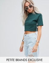 Missguided Petite Cropped Lace Up Detail Top