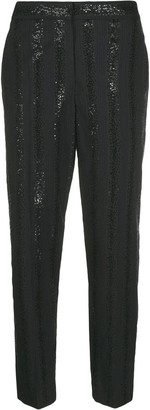 Brunello Cucinelli Sequin-Embellished Striped Trousers