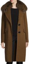 Derek Lam 10 Crosby Wool-Blend Coat w/ Fox Fur, Spice