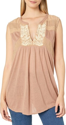 Lucky Brand Women's Size Plus Embroidered Tank TOP