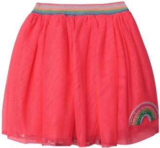 Billieblush Girls Rainbow Sparkle Sequin Hem Skirt - Fuschia