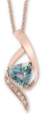 """Effy Aquamarine (1-3/8 ct. t.w.) & Diamond Accent 18"""" Pendant Necklace in 14k Rose Gold"""