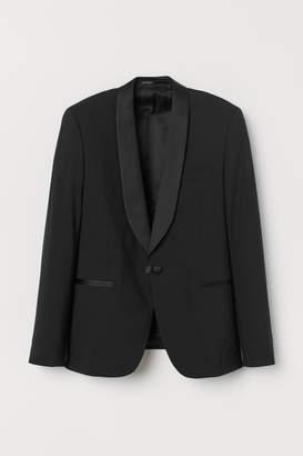 H&M Skinny Fit Wool Tuxedo Jacket - Black