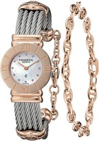 Charriol Women's 'St Tropez' Pink Mother of Pearl Dial Steel Watch 028RP.540.462