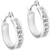 14K White Gold Diamond Accent Hoop Earrings