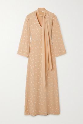 Chloé Tie-neck Appliqued Silk Crepe De Chine Maxi Dress - Beige