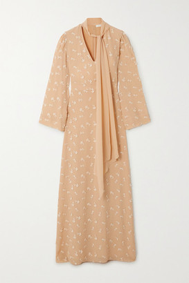 Chloé Tie-neck Appliqued Silk Crepe De Chine Maxi Dress - Beige