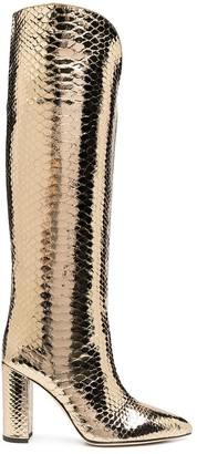 Paris Texas Metallic Crocodile-Effect Knee-High Boots