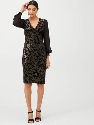Gina Bacconi Jacquard Chiffon Sleeve Velvet Dress - Black